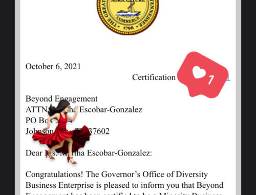 Beyond Engagement has been certified to be a Minority Business Enterprise (MBE)